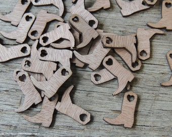 100 Wood Cowboy Boots 3/4 inch tall, Little Wooden Confetti Engraved Boots - Rustic Wedding Decor- Table Decorations- Small Wooden Boots
