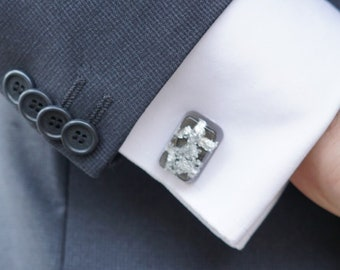 Resin and Sterling Silver Flakes cuff links
