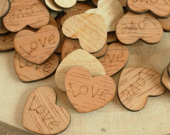 "100  ""Love"" Hearts ~ 1"" ~ Cute Little Wooden Hearts! Rustic Table Confetti, Wedding Table Scatter, Rustic Wedding Decor ~ Spring Wedding"