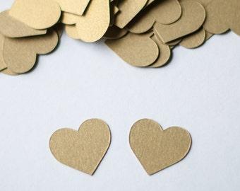 Gold Heart Confetti - Wedding Confetti - Bridal Shower Decor - Antique Gold