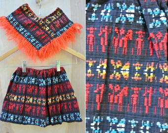 SALE Poncho & Skirt SET Embroidered Skirt Fringed Poncho Cape Mexican Guatemalan Peruvian Aztec Tribal Ethnic 3 - 6 month Maybe Older 9 - 12