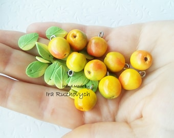 10 pcs. apples, polymer clay beads