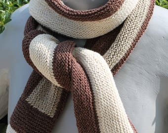 scarf men chocolate, ecru and PuTTY Pinstripe cotton and linen