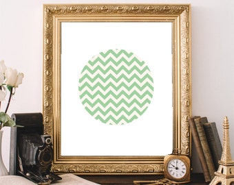 Chevron Wall Art, Abstract Print, Printable Art, Mint Green Wall Art, Modern Wall Art, Chevron Print