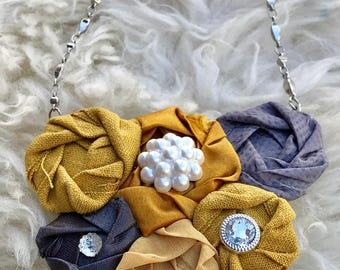 Mustard Yellow and GrayFabric Flower Statement Necklace with vintage inspired Buttons, Rolled Rosette, Bridesmaid Gift, winter fashion, gift
