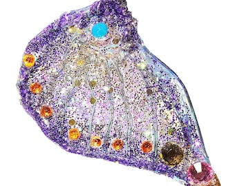 Necklace purple butterfly wing purple, lilac, with crystal rhinestones