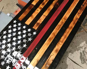 Rustic Thin Red Line Flag