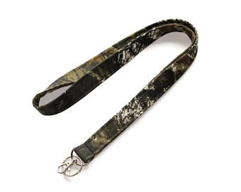 Mossy Oak Camo Lanyard -  Camouflage Fabric Lanyard  - Key Lanyard - Cute lanyards - ID lanyard - key ring and lobster clasp