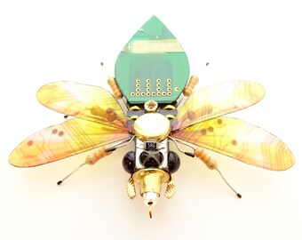 The Sunny Honey Bee, Circuit Board Insect by Julie Alice Chappell