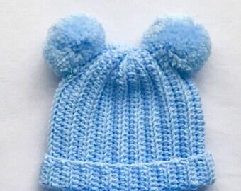 Crochet Baby Hat, Baby Crochet Hat, Baby Blue Crochet Pom Pom Hat, 0-3mth, Winter Hats, Newborn, Handmade, Crochet Beanie Hat, Crochet Hat.