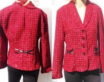 90's SHINNY RED BLack Plaid Cropped ,Funky Blazer,coat,size 10P