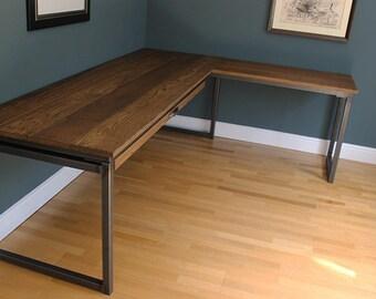 Otis Industrial Vintage Style Corner Office Desk