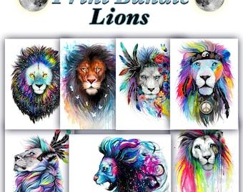 Big Lion Print Bundle -Get these 7 Lion prints and save money-
