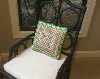 Mid-century modern geometric flame stitch needlepoint pillow