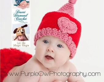 Crochet Pattern 052 - Valentine Gnome Beanie Hat - All Sizes