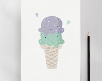 Ice Cream Cone, Modern Nursery Kids Wall Art Print