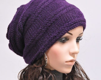 Hand Knit woman men wool Slouchy Hat Deep Purple