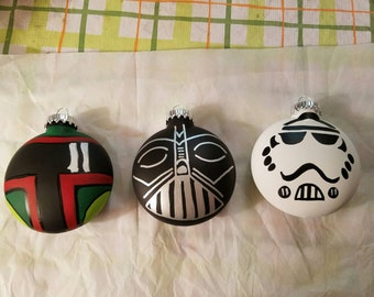 Star Wars Ornaments Dark Side Set of 3 hand painted and personalized Darth Vader,  Boba Fett,  Stormtrooper