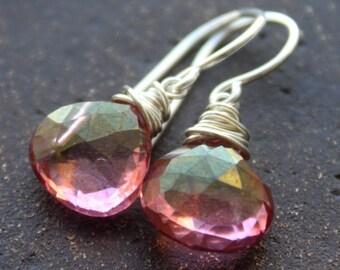 Mystic Pink Quartz Dangle Earrings- Handmade, semiprecious,holidays,
