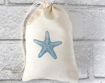 Starfish Favor Bag Nautical Muslin Bag Thank You Gift Beach Destination Wedding Welcome Birthday Party Bachelorette Hawaii Ocean Baby Shower