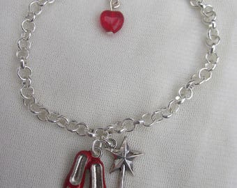 Wizard of Oz Red Shoes & Wand Bracelet