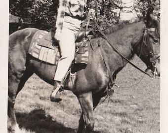 Original Vintage Photograph Snapshot Wmoan Riding Horse 1940s-50s