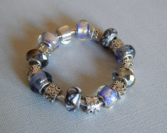 Lovely Add a Bead Bracelet in Cool Tones and Silver-Tone Spacers