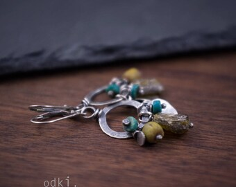 Sterling Silver Earrings - Roman Glass - Turquoise - Java Raw Glass - Small Circle Earrings - 925 Artisan Earrings - Oxidized Silver - odki