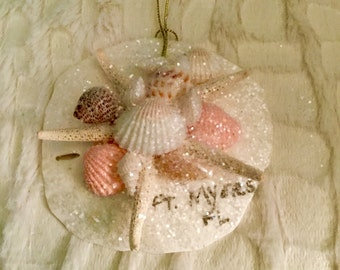 Ft. Myers Florida Sea Shell Christmas Ornament w/ Opalescent Shimmer. Coastal  & Beach Hanging Decor. Sand Dollar and Authentic Shells.