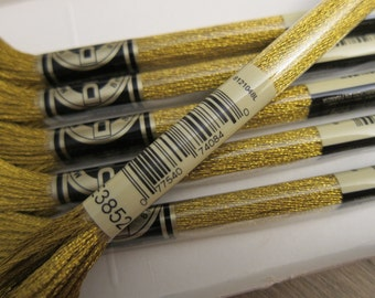 Metallic Gold #E3852, DMC Embroidery Floss - 8m Skeins - Available in Single Skeins, Multi-Skein Pkgs and in 6-skein Boxes
