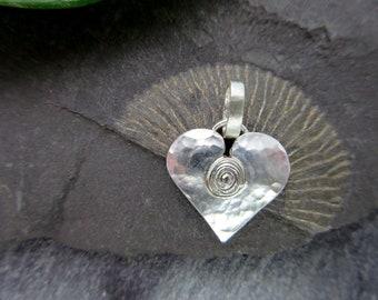 Silver Heart necklace Silver Heart pendant sterling Silver Heart