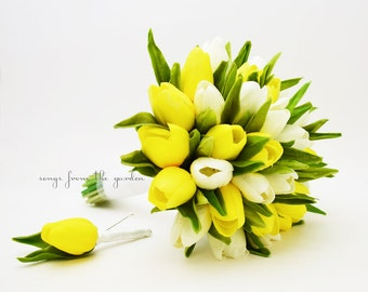 Yellow white bouquet etsy ready to ship real touch yellow white tulips bridal bouquet tulip wedding flower real touch mightylinksfo Image collections