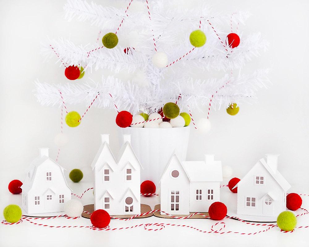 DIY Putz Village Ornament Kit Glitter House Christmas