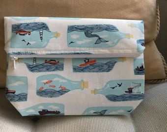 Ship In A Bottle Foldover Clutch