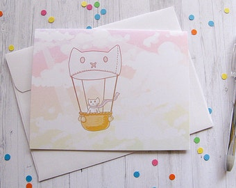Going Away Card Hot Air Balloon Cat Greeting Card Funny Cute Note Silly Cat Lover Boyfriend Girlfriend Any Occasion Blank Card