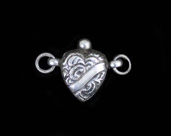 MercurysMoon-Beautiful Tiny 3 Dimensional Solid (not hollow)   Silver Antique Heart Pendant Charm