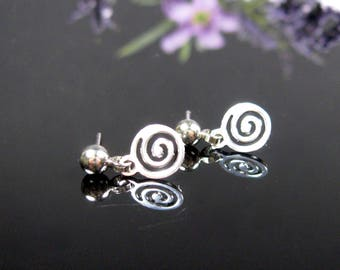 Small dangle drop earrings, nickel free, silver post earrings, surgical stainless steel, dainty jewelry, petite earrings, ready to ship