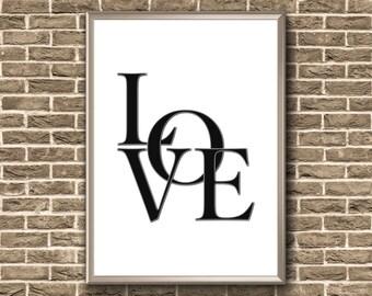 Love Print | Love Typography Print | Love Poster | Love Typography | Love Printable Wall Art | Love Printable Art | Love Print Wall Art