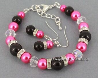 Fuchsia Bracelet Bridesmaid Gift Black and Hot Pink Pearl Bracelet Wedding Jewelry Gift Idea Maid of Honor Jewelry Gift for Women Jewelry