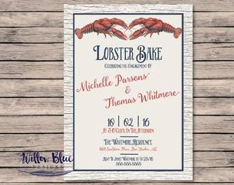 Lobster Bake Engagement Party Invitation #600, 5x7 or 4x6 Printable, Printable Invitation, Engagement Party Invitation