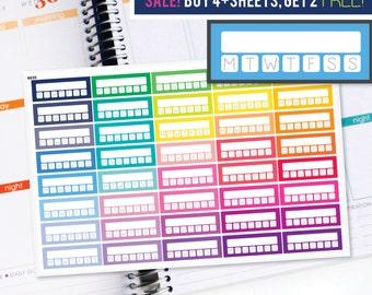 Habit Tracker Planner Stickers to be used with Erin Condren LifePlanner (ECLP), Happy Planner - Half Inch, 40 Stickers (#6035)
