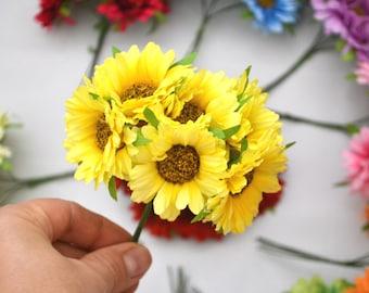 Sunflower artificial Fabric flowers DIY Fake flowers Wedding decor Rustic wedding Craft sunflowers Fabric sunflowers Birthday flowers