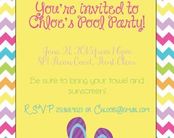 Chevron Flip Flop Summertime Pool Party Invitation