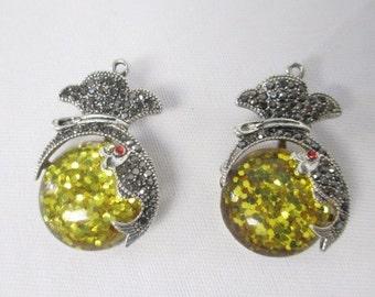 Koi Fish YELLOW GLITTER Sparkles  lot of 2 Antiqued Tibetan Silver Rhinestone Style Pendants