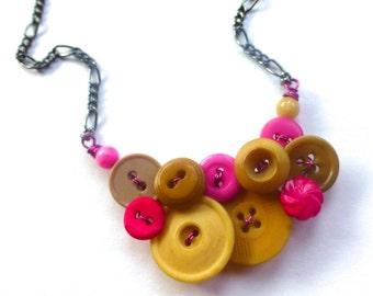 Tan and Hot Pink Button Necklace - Clearance Sale Button Jewelry