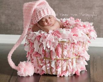 Newborn  Elf Hat, Newborn Pink Hat, Photography Prop, Newborn Photo Prop, Long Tail Hat, Stocking Cap, Newborn Pom Pom Hat, Crochet Baby Hat