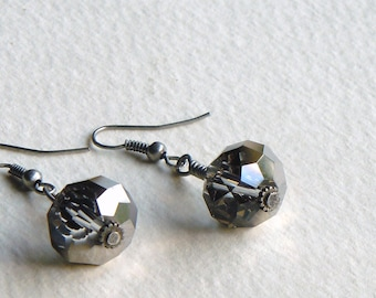 Faceted Gray Glass Rondelles Antiqued Silver Wire Wrapped Earrings