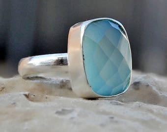 Chalcedony Ring, cushion aqua chalcedony sterling silver ring, chalcedony Solid silver ring Jewelry