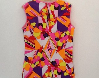 Vintage Psychedelic sleevless blouse 60s
