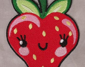 Embroidered Red Strawberry Cutie Berry Fruit Kawaii Anime Patch Iron On Sew On USA